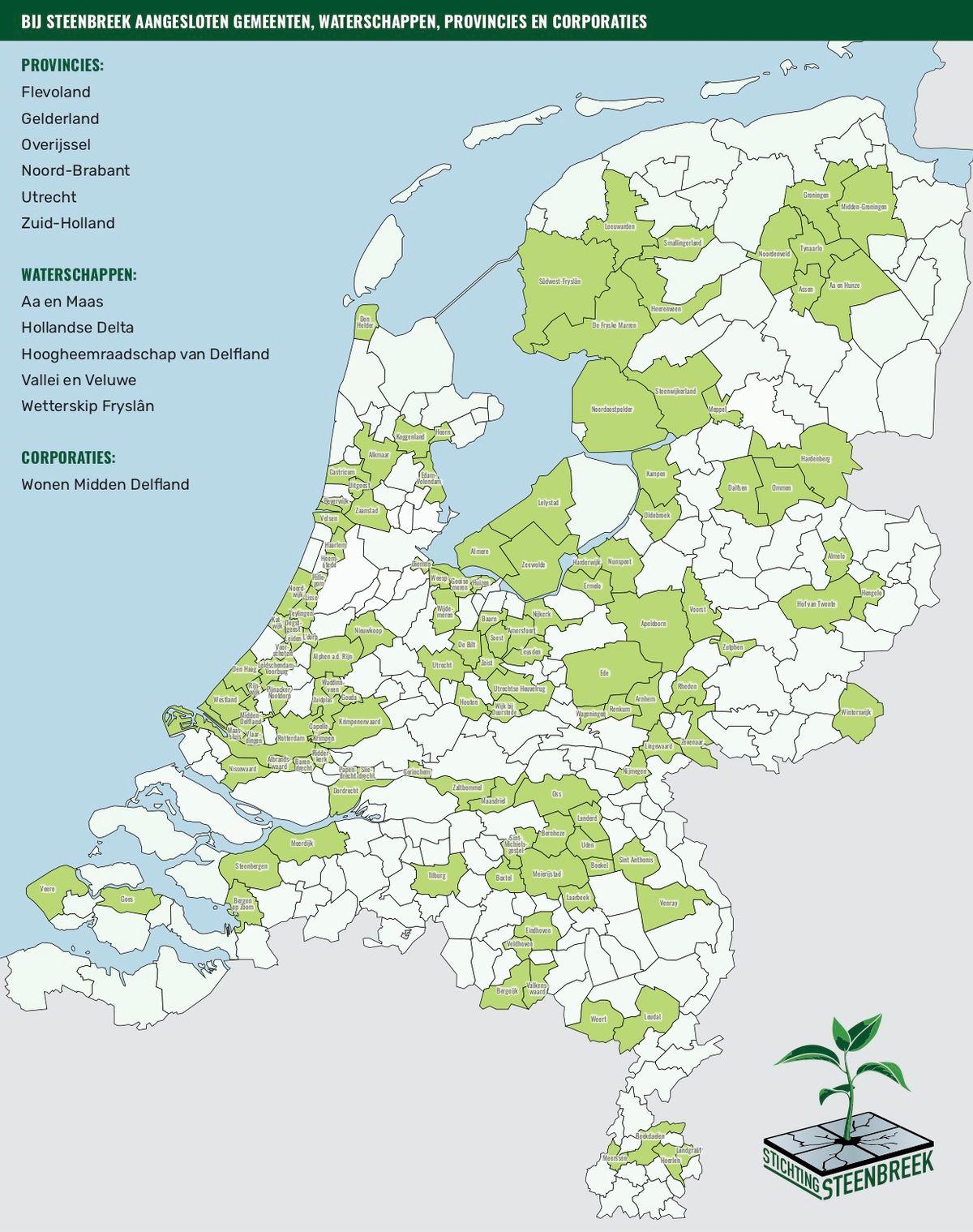 Overzicht van gemeentes die vergroenen dankzij Steenbreek